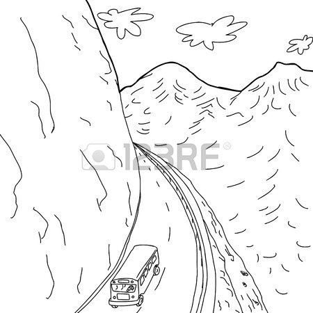 450x450 Outline Cartoon Drawing Of School Bus On Mountain Highway Royalty