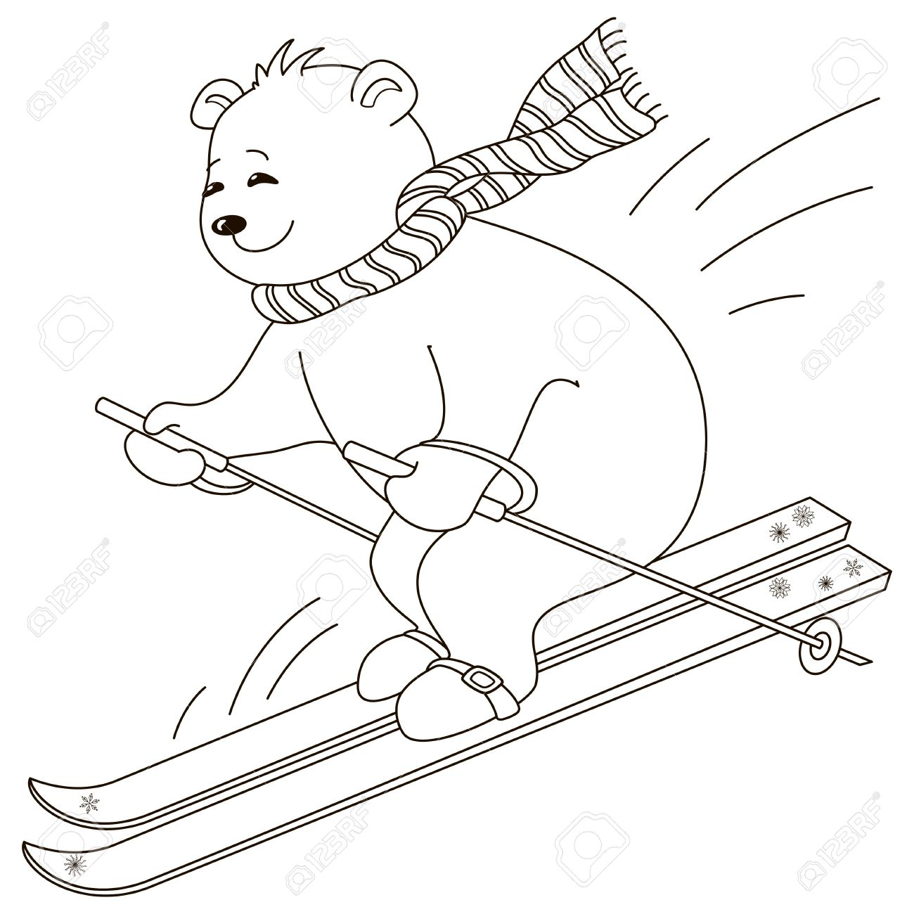 1300x1300 Teddy Bear Goes For A Drive On The Mountain Skiing, Contours