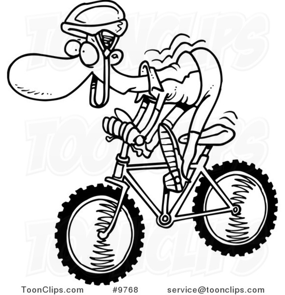 581x600 Cartoon Black And White Line Drawing Of A Mountain Biker