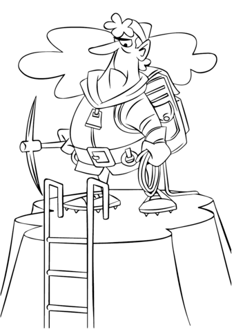 339x480 Cartoon Mountain Climber Coloring Page Free Printable Coloring Pages