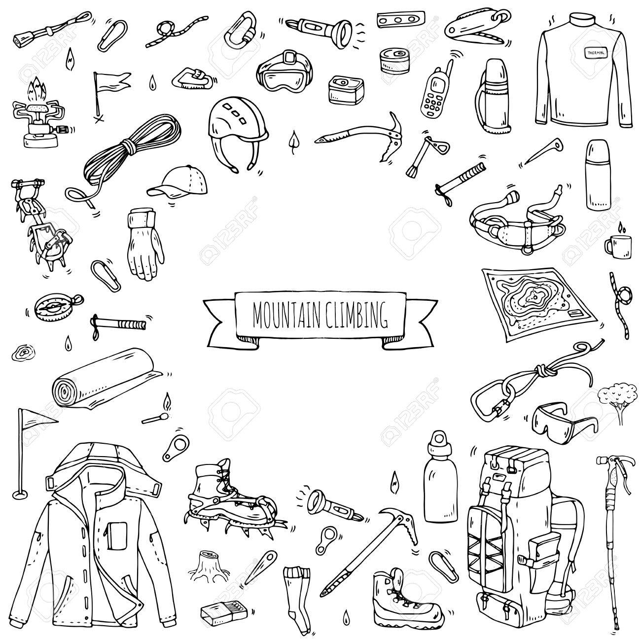1300x1300 Hand Drawn Doodle Mountain Climbing Icons Set. Vector Illustration