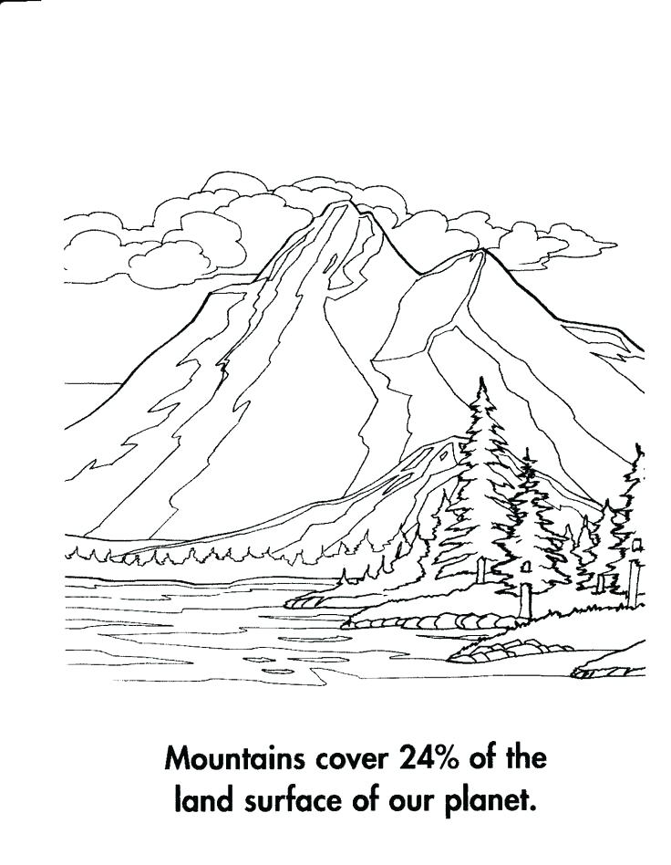 736x948 Mountain Coloring Page Coloring Pages Of Mountains Mountain