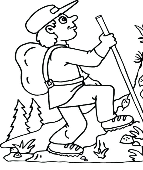 600x713 Mountain Coloring Page Hiking The Mountain In Summer Coloring Page