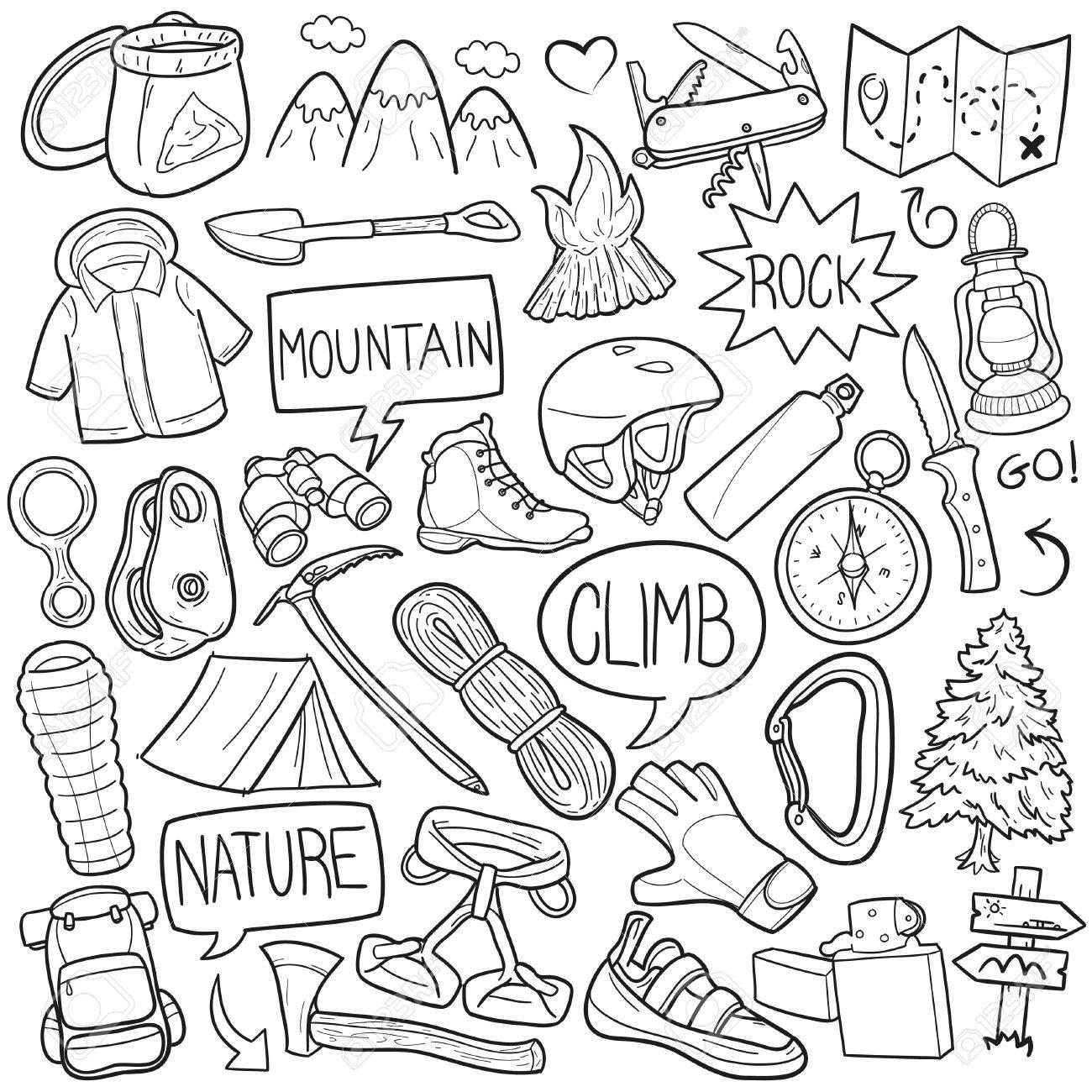 1300x1300 Climber Mountain Climbing Doodle Icon Sketch Vector Art Royalty