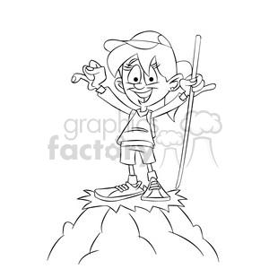 300x300 Royalty Free Trina The Cartoon Girl Character Climbing A Mountain
