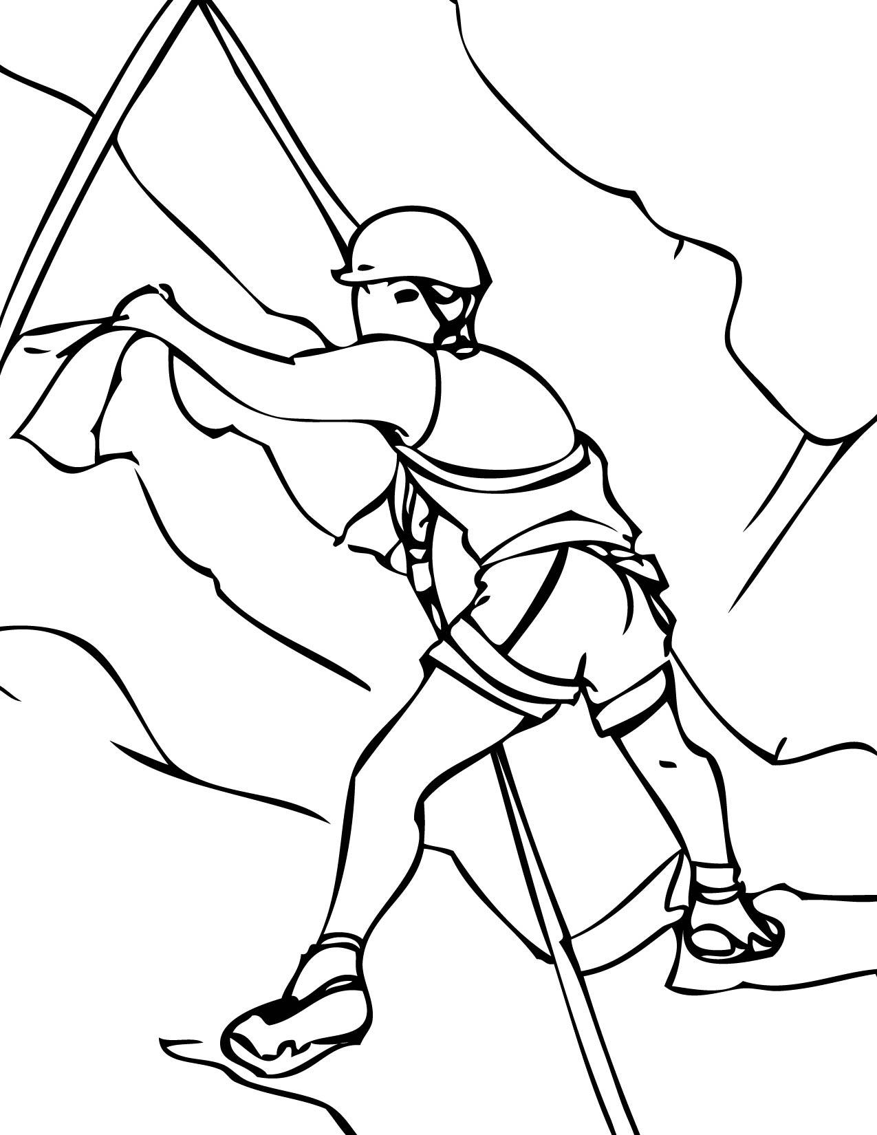 1275x1650 Climbing Coloring Page Vector Of A Cartoon Mountain Climber
