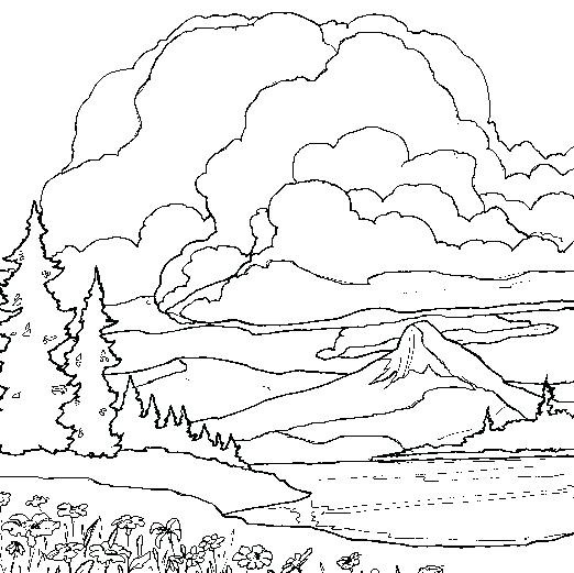 522x521 Mountain Coloring Pages Landscape Coloring Pages Mountain Lake
