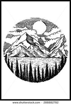 236x348 Mountain Ranges Mountain Range, Silhouettes And Watercolor