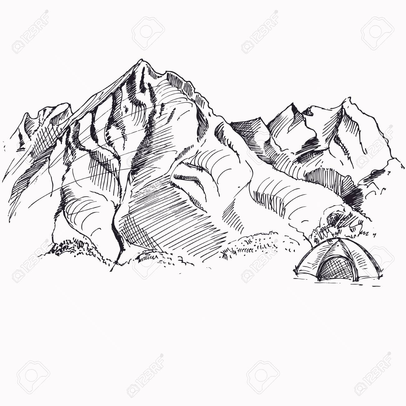 1300x1300 Landscape With Tent And Mountains. Sketch. Royalty Free Cliparts