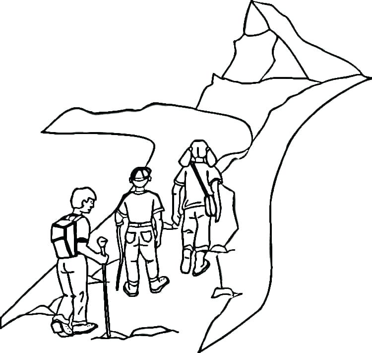 750x711 Mountain Coloring Page Mountain Hiking Camp Coloring Page West