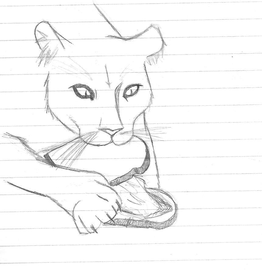 861x887 Mountain Lion Eating Sandwich By Fallen Angel7734
