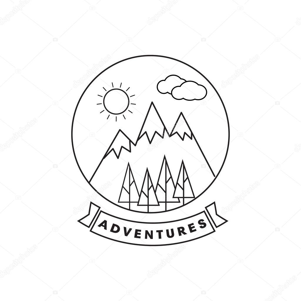 1024x1024 Mountain Line Landscape Vector Poster. Mountain Line Logo Poster