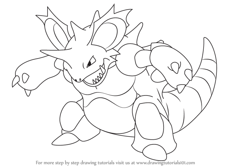 800x566 Learn How To Draw Nidoking From Pokemon (Pokemon) Step By Step
