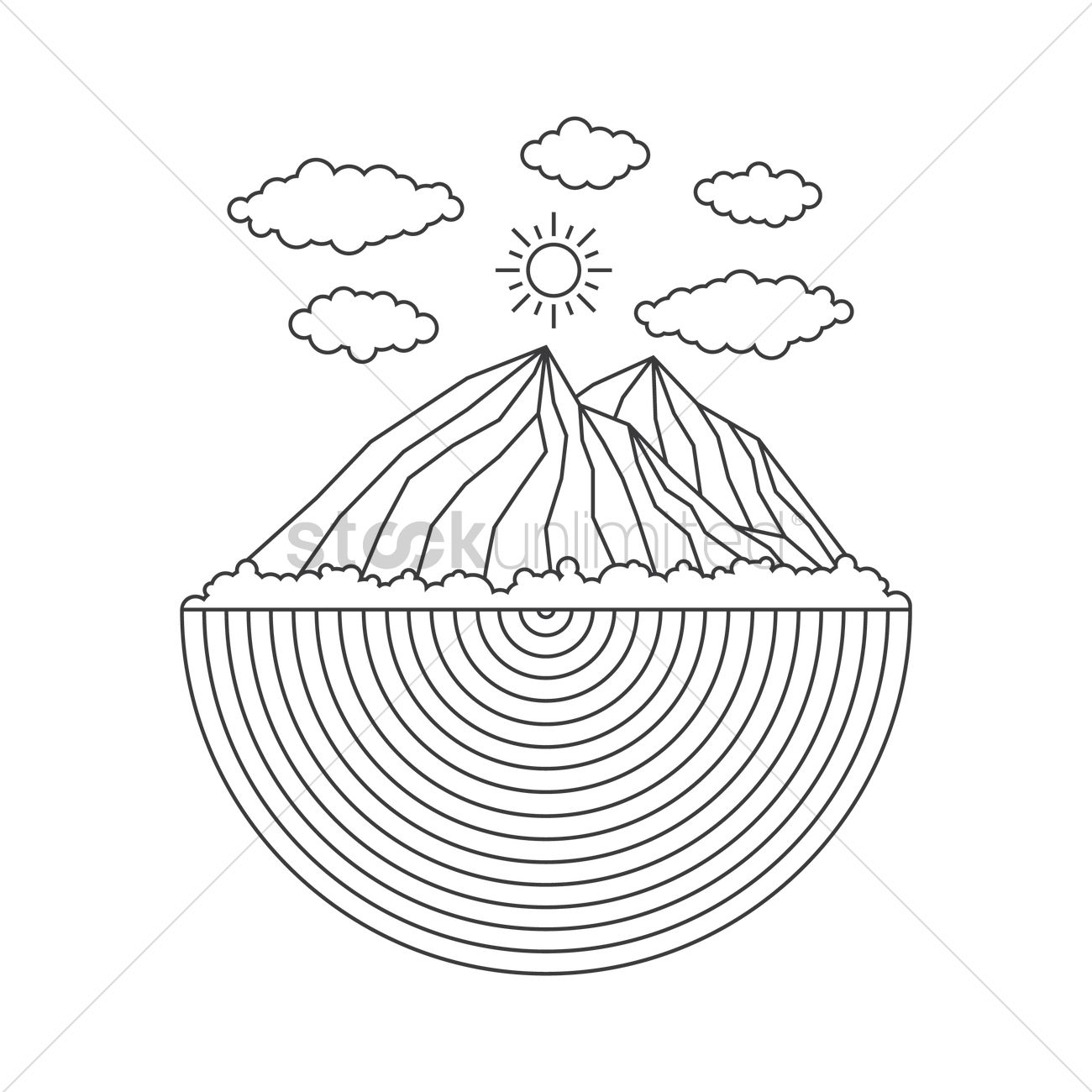 1300x1300 Outline Mountains Vector Image