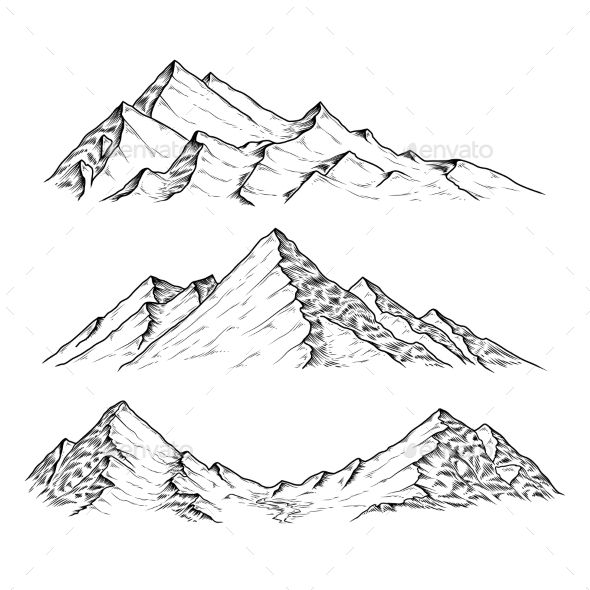 590x590 Hand Drawn Vector Illustration The Mountains Hand Drawn