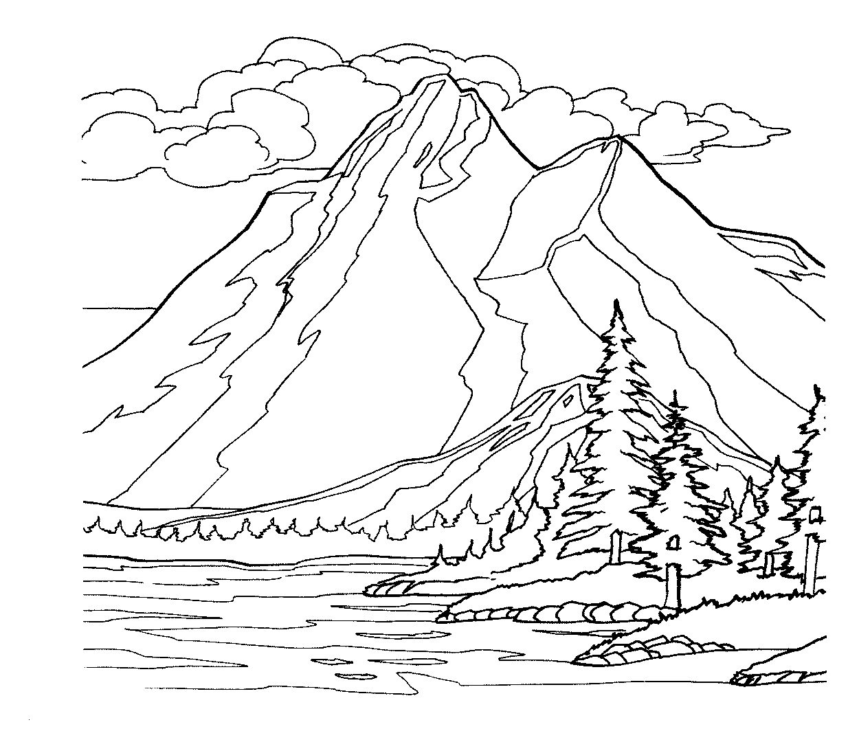 Mountain Scene Drawing at GetDrawings.com | Free for personal use ...
