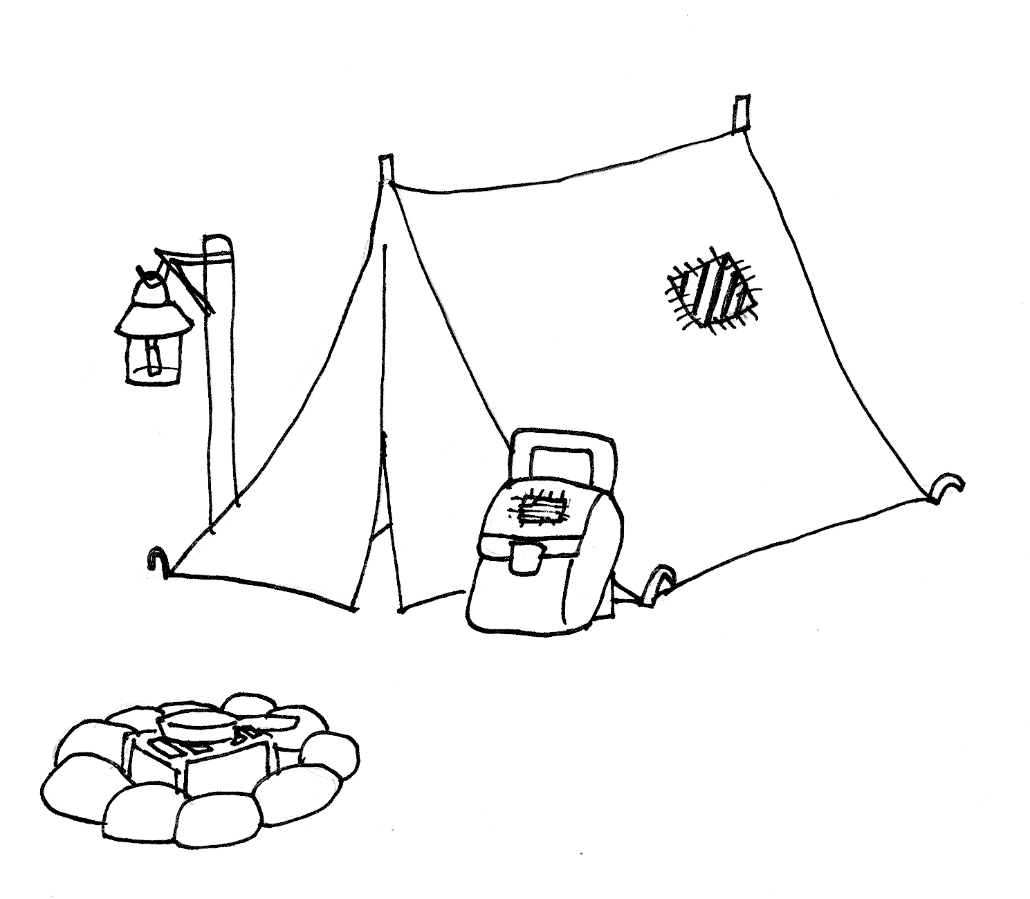 1489x1300 tent clipart coloring page