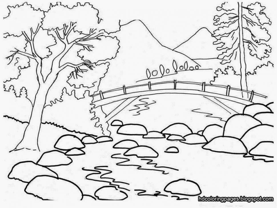 970x728 coloring mountain scene coloring page free printable pages