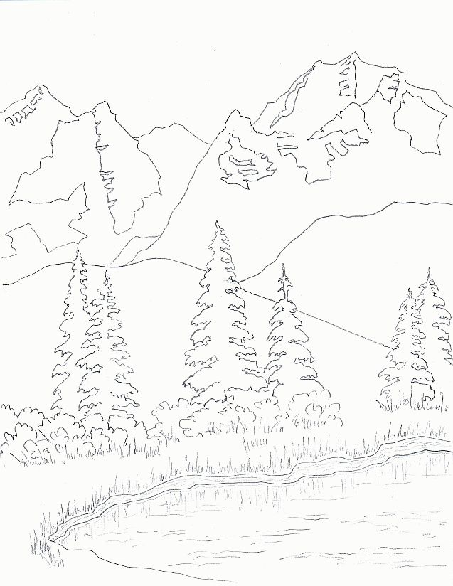 Mountain Scenery Drawing