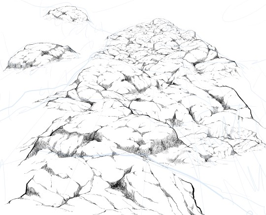 540x437 Just Stamp And Connect. Draw Rock Scenery Of The Mountains