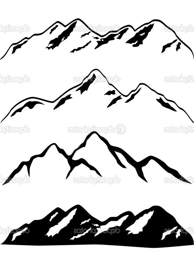 Mountain Silhouette Drawing