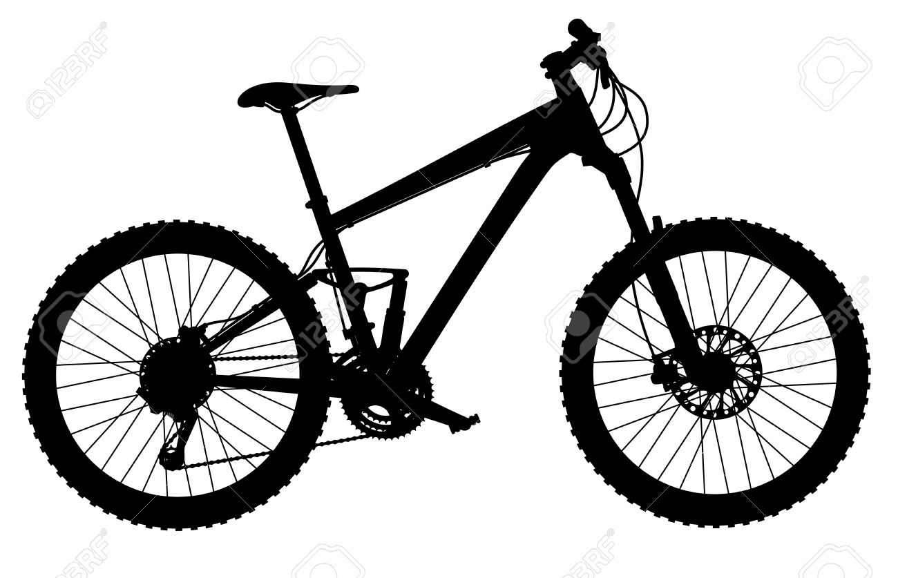 1300x837 Silhouette Of Full Suspension Mountain Bike Royalty Free Cliparts