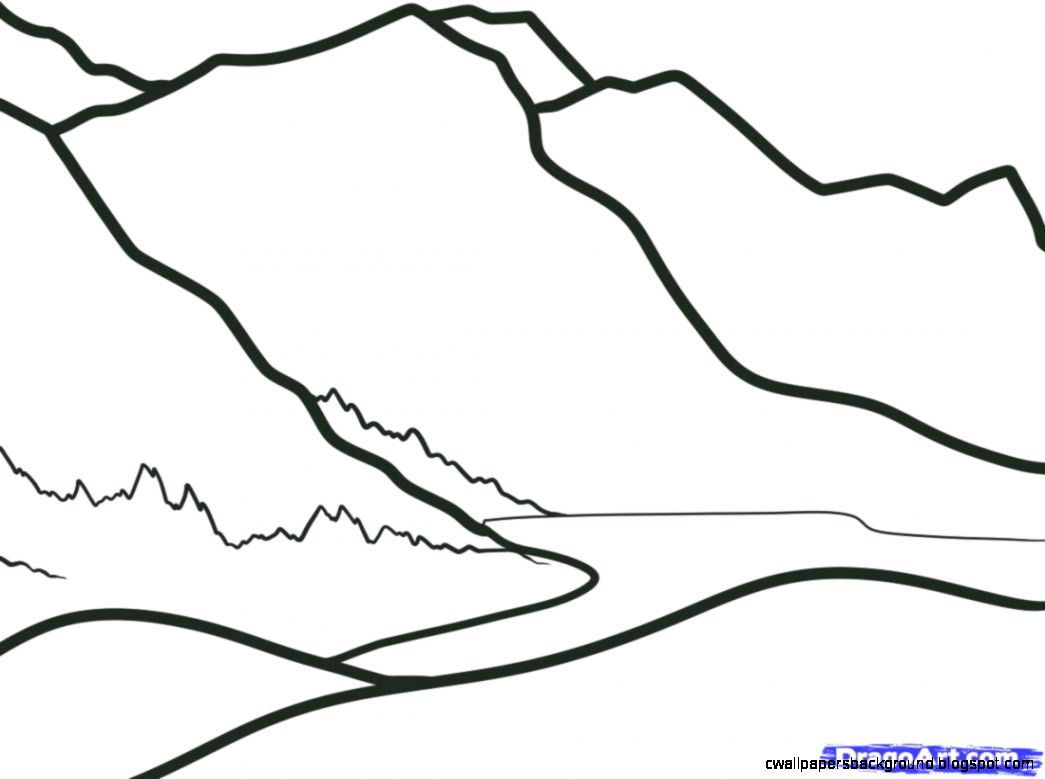 1045x779 Easy Mountains Drawing Wallpapers Background