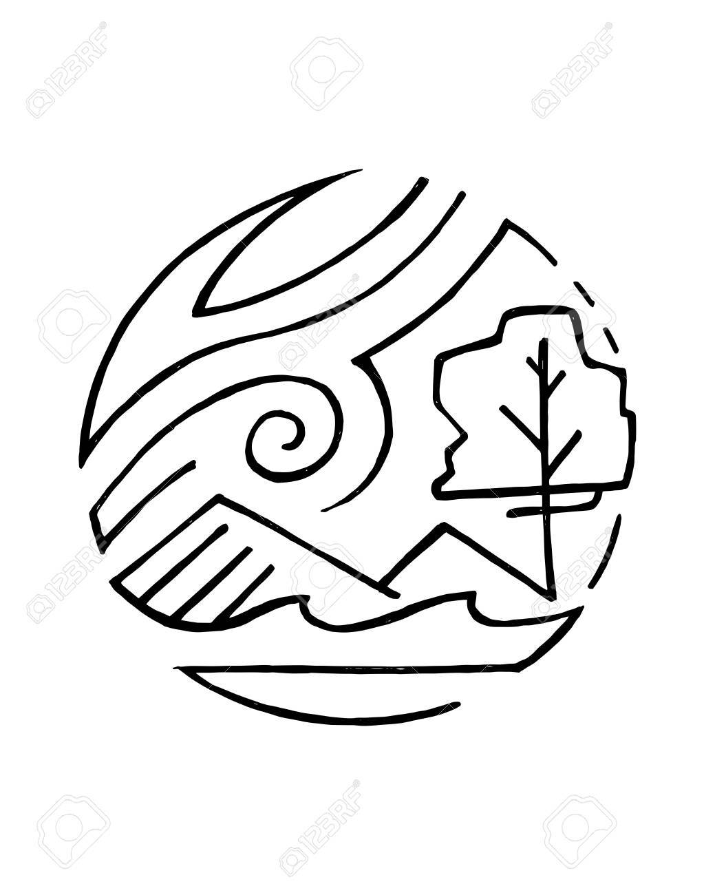 1039x1300 Hand Drawn Vector Illustration Or Drawing Of A Nature Symbol With