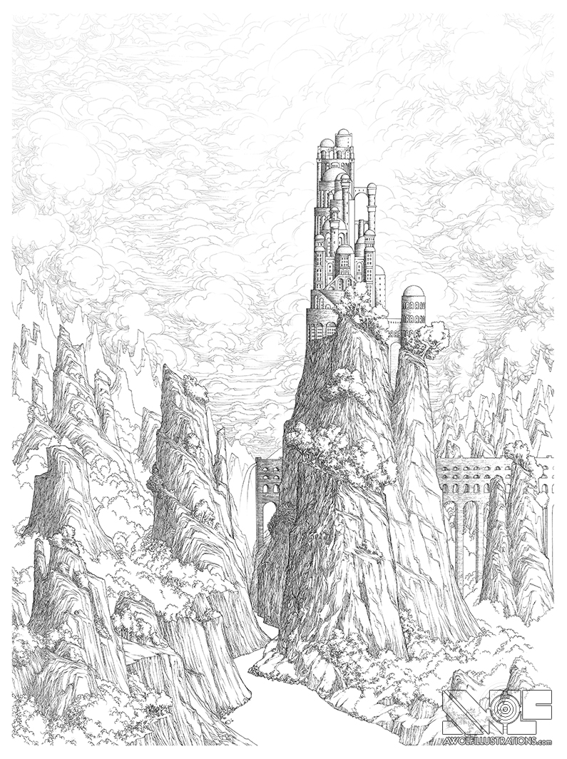 795x1064 A Delicate Balance Mountains Beyond Mountains AWolf Illustrations