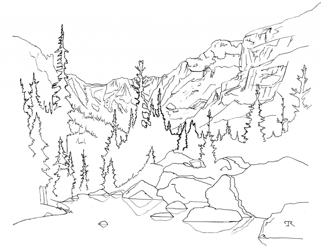 1024x789 Line Drawing Of Mountains Line Drawings Rocky Mountains