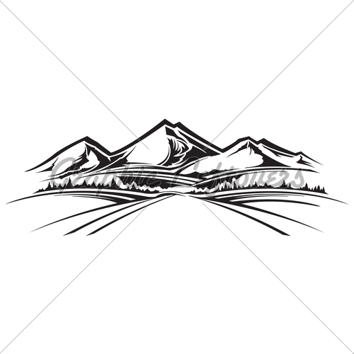 500x500 Mountain Line Drawing Clip Art