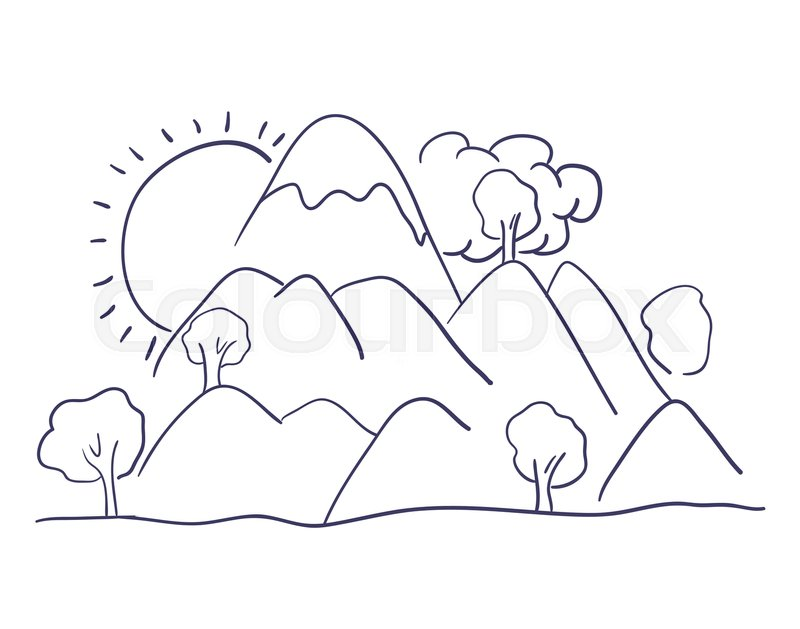 800x629 Mountains Landscape Drawing Isolated Vector Illustration Design