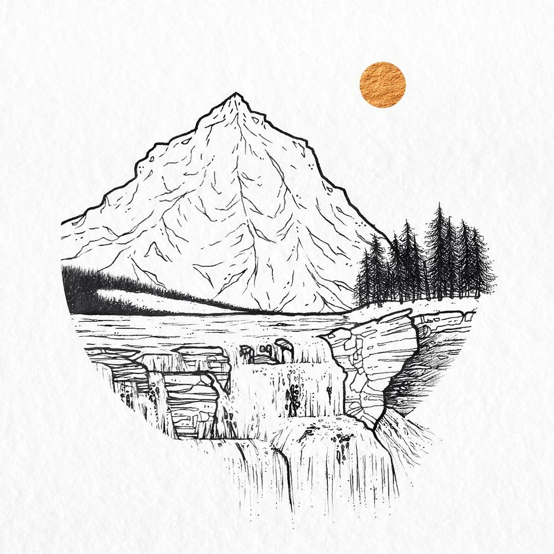 1080x1080 Sketch Art, Pencil Drawings Tag Mountains Archives