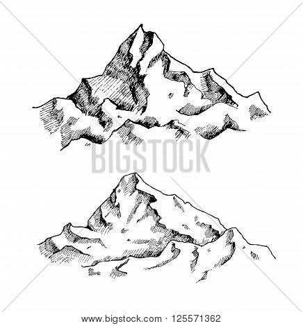 436x470 Vector Mountains Drawing Set. Hand Vector amp Photo Bigstock