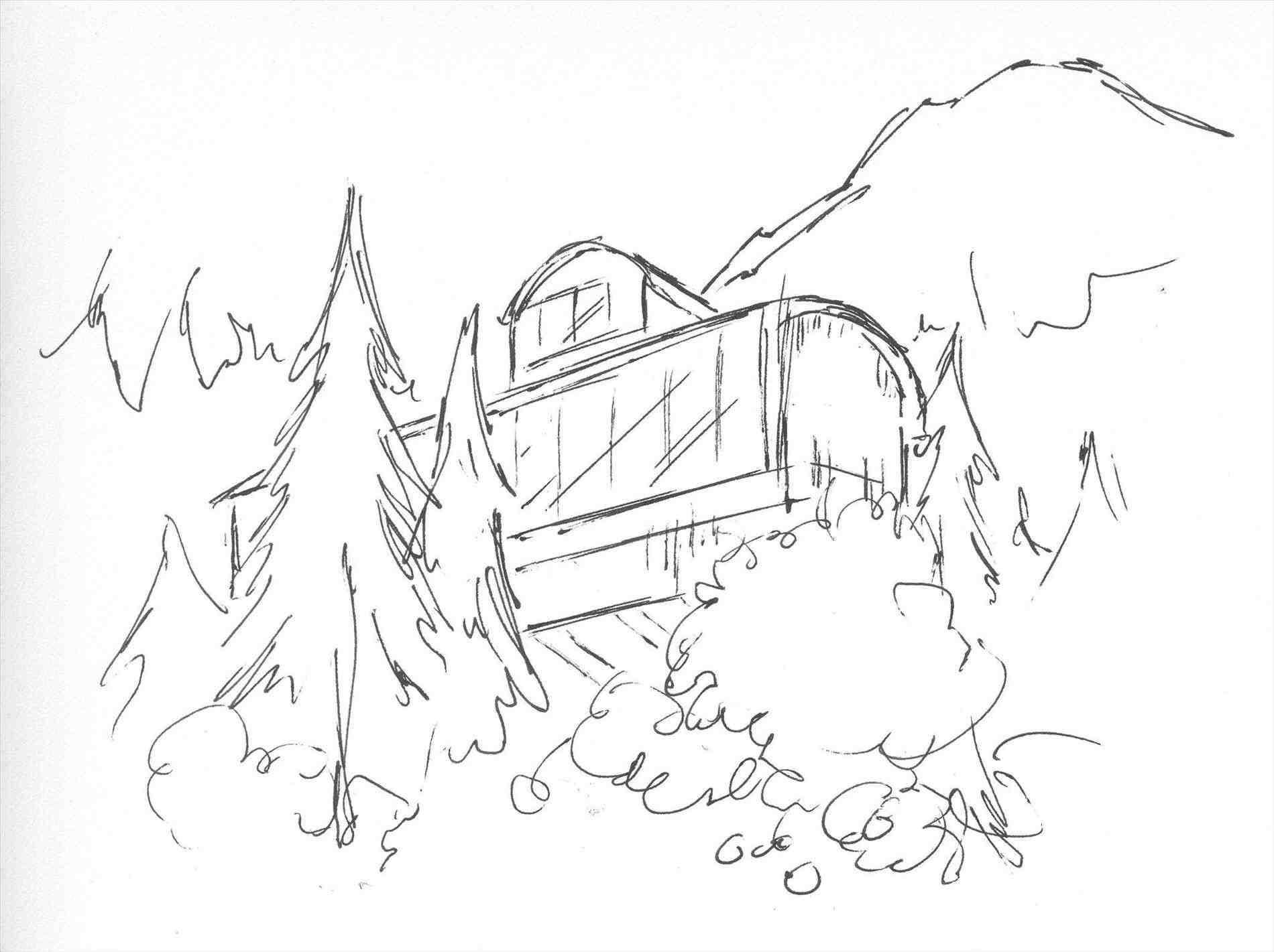 1900x1421 House In The Mountains Drawing