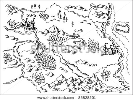 450x340 Drawing Of A Map Of A Fantasy Land Showing Rivers Mountain Range