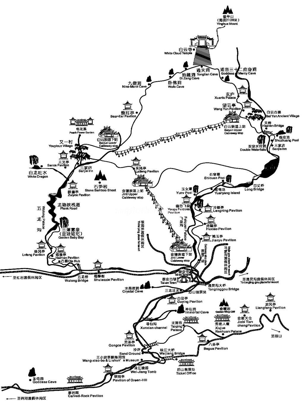 1024x1407 Qingcheng Mountain Map (Back Mountain)