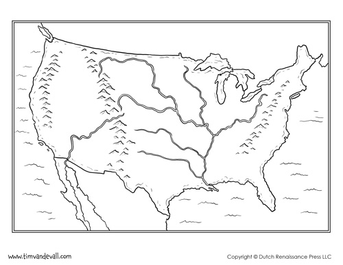 500x386 United States Map Rivers And Mountains Printable Us Maps