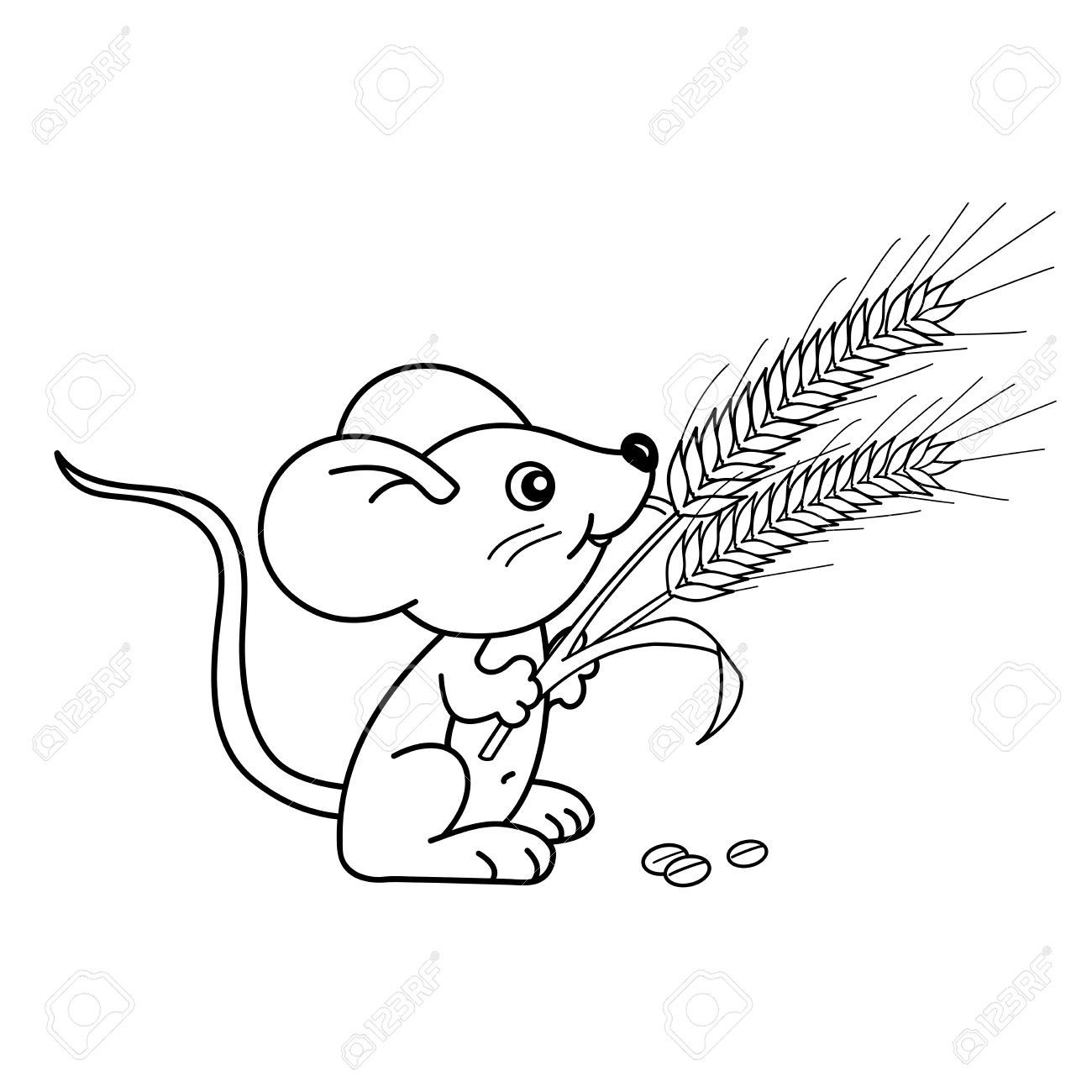 1300x1300 Coloring Page Outline Of Cartoon Little Mouse With Spikelets