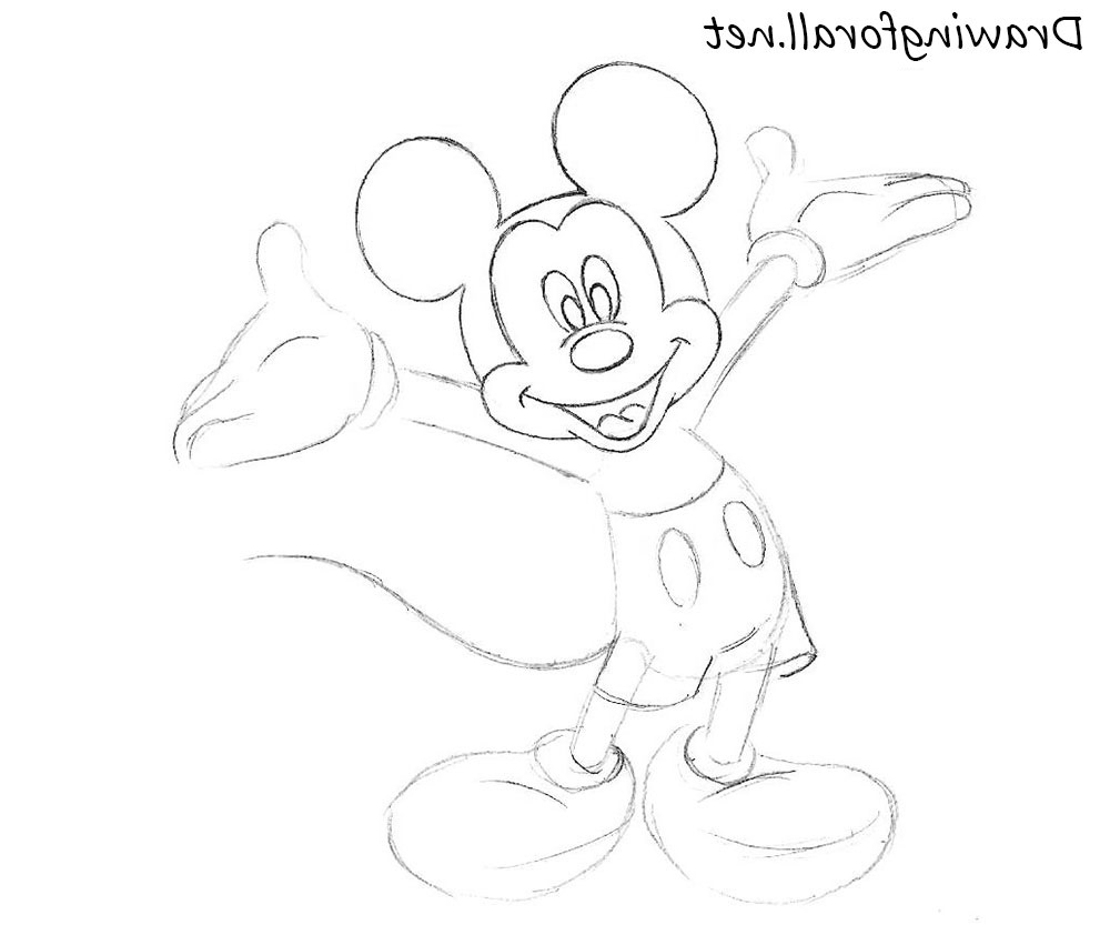 1000x833 Mickey Mouse Painting In Pencil Pencil Drawings Of Mickey Mouse