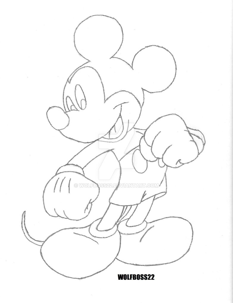 783x1019 Mickey Mouse Pencil Sketch By Wolfboss22