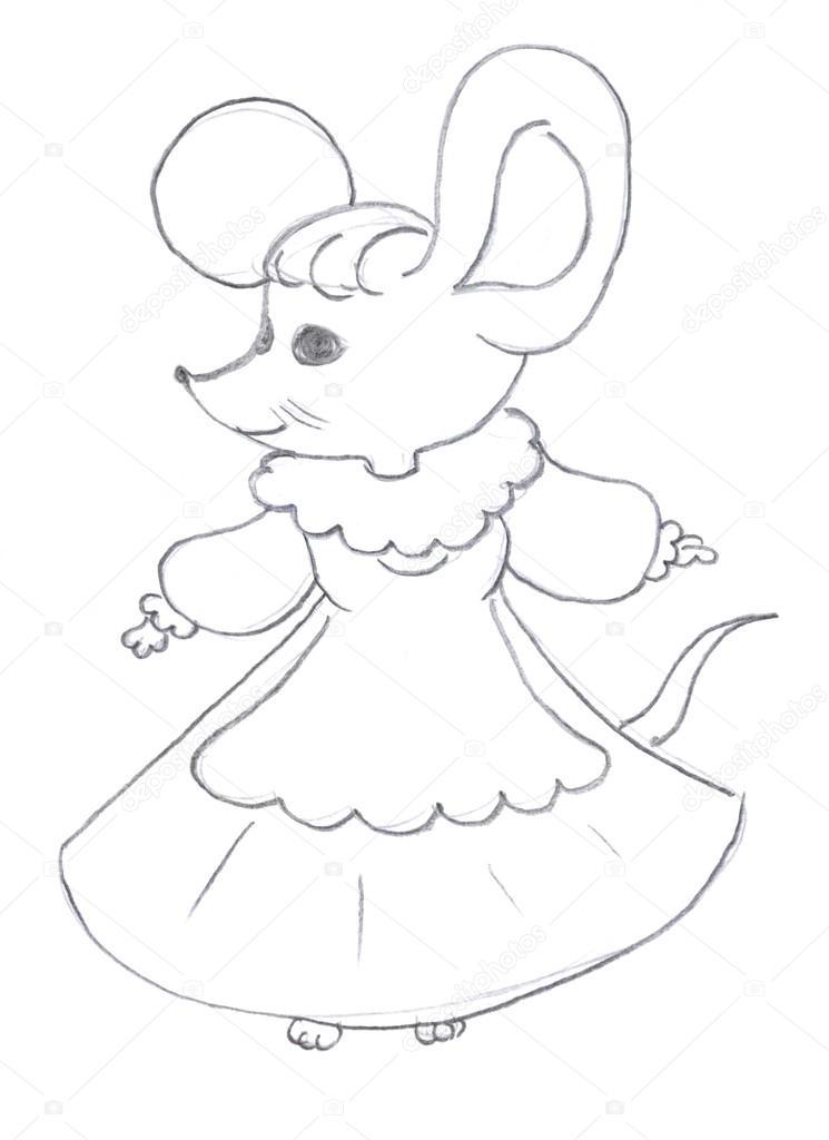 745x1024 Female Mouse Drawing Stock Photo Nadyaus