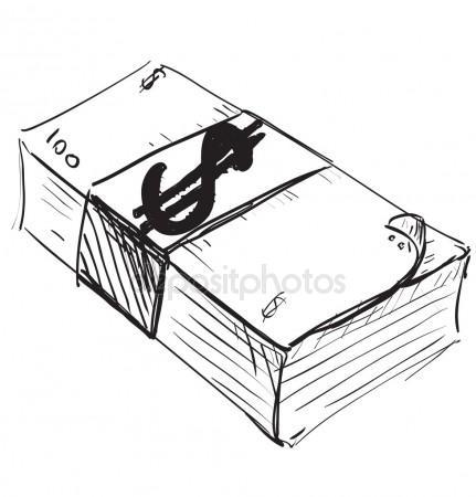 431x450 Dollar Cash Money Icon. Hand Drawing Cartoon Sketch Illustration