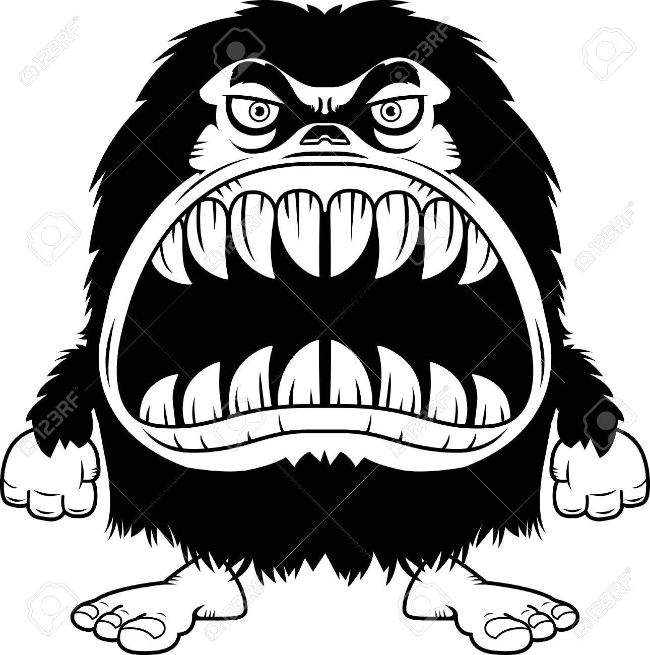 1290x1300 A Cartoon Illustration A Hairy Monster With A Big Mouth Full