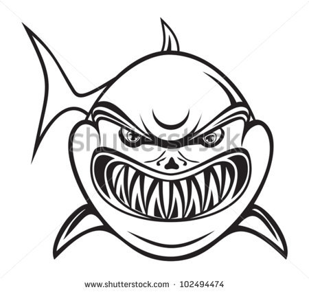 450x425 Great White Shark Clipart Mouth Open Drawing