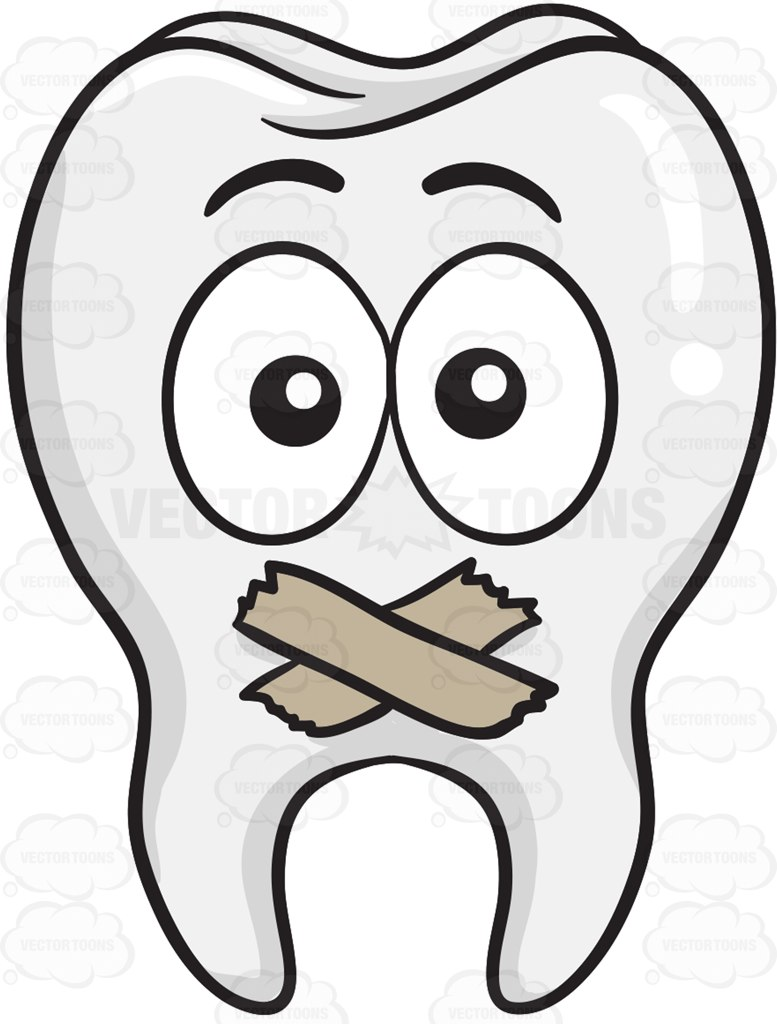 777x1024 Tooth With Taped Mouth Cartoon Clipart