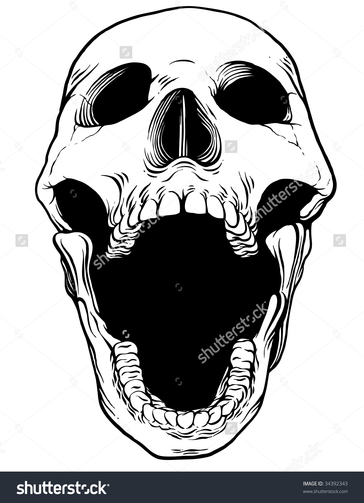 1159x1600 Open Mouth Front View Drawing Skull Clipart Mouth