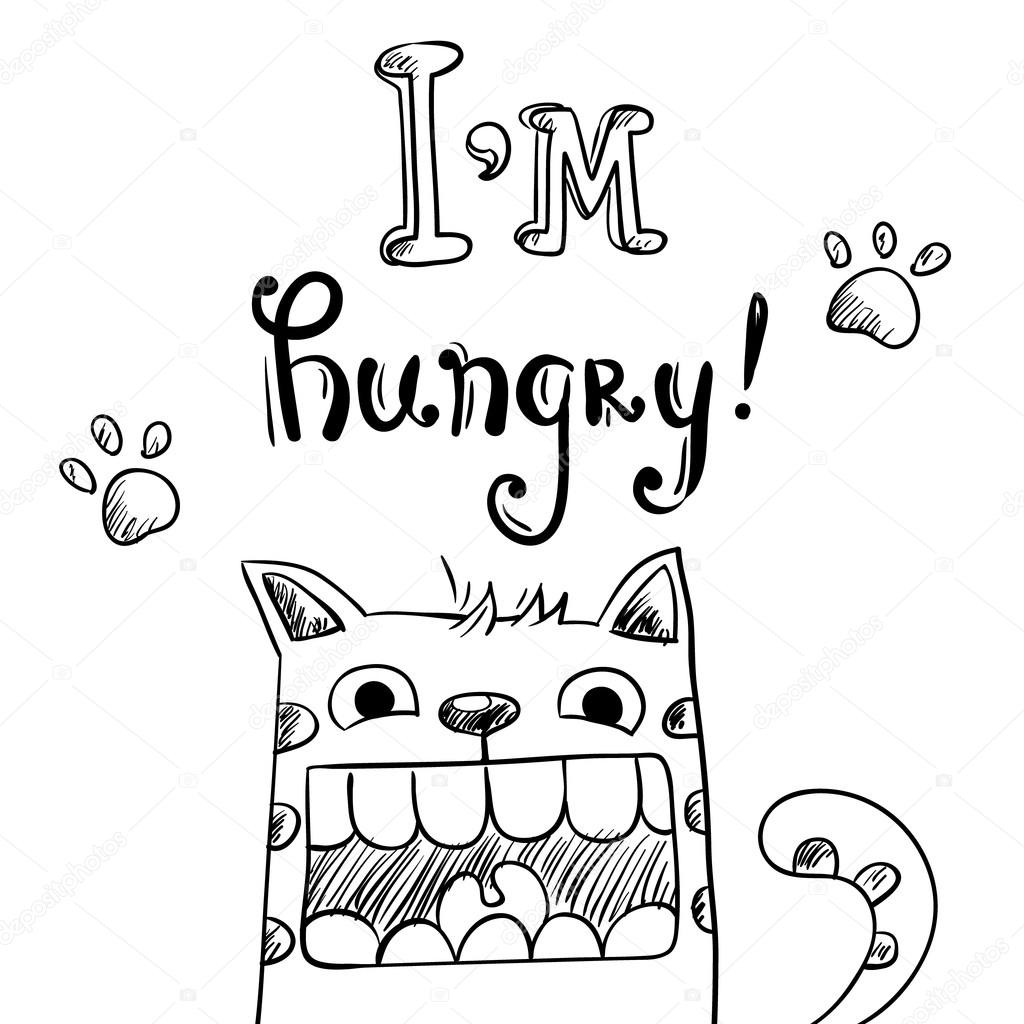 1024x1024 Cartoon Illustration Of Hungry Cat With Huge Mouth Stock Vector