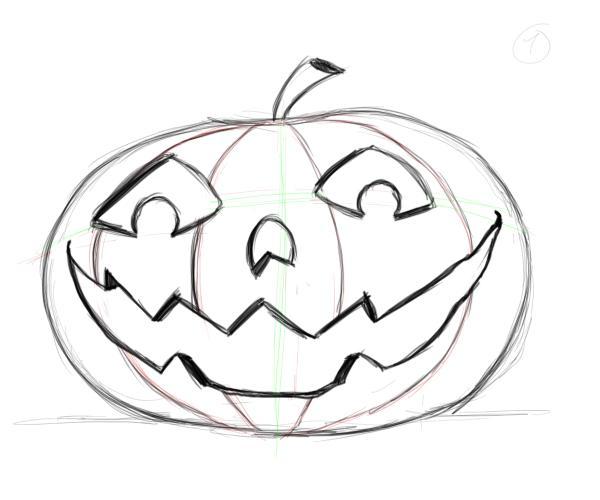 600x500 Drawing Pumpkin Faces