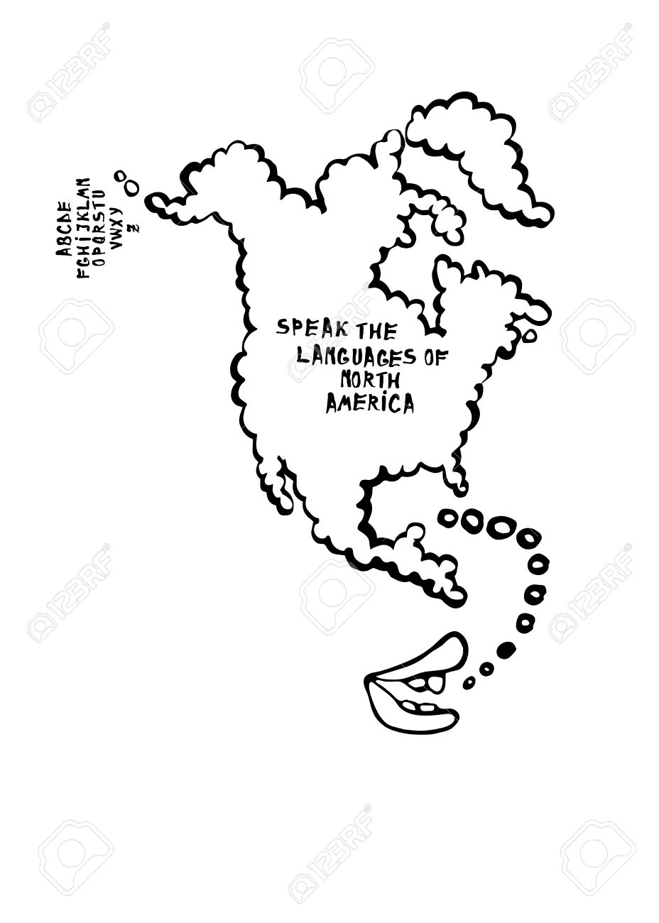 928x1300 Language Learning Map With Mouth Speaking Cartoon, The Map Is